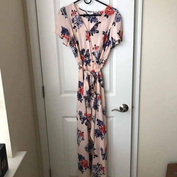 Candie's Dresses & Skirts - Beautiful Floral Print Romper with Maxi Overlay